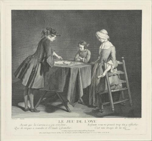 Pierre-Louis Surugue d'après Jean-Baptiste-Siméon Chardin, Le Jeu de l'oye, 1746, gravure, 60 x 50 cm.