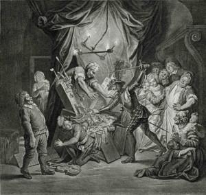 François Poilly d'après Charles Antoine Coypel, Don Quichotte des marionnettes pour des Maures…, 1723 – 1725, gravure, 38 x 45 cm, Paris, Bibliothèque nationale de France.