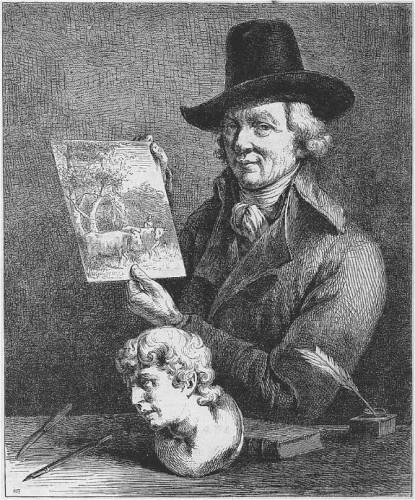 Jean-Jacques de Boissieu, Autoportrait, 1796, gravure, 26,8 x 23,6 cm, Luxembourg, Villa Vauban.