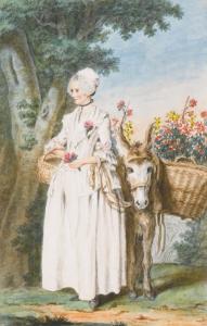 Louis Carrogis dit Carmontelle, La Belle Laitière de Villers Cotterets, dessin, 31,8 x 20,3 cm.
