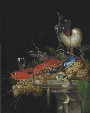 Ottmar Elliger I, Nature morte, 1671, huile sur bois, 98.4 x 78.4 cm.