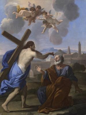 Luigi Garzi (1638-1731) Domine Quo Vadis ?, début du XVIIIe siècle, huile sur toile, 63 x 48 cm, Paris, galerie Antoine Tarantino.