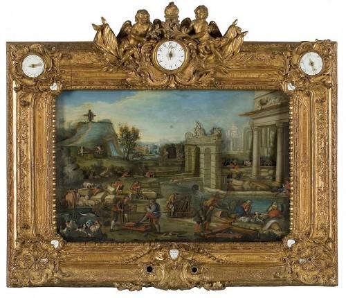 Nicolas Spayement, peintre Desmares, machiniste, huile sur tôle de fer, cadrans émaillés, cadre en bois sculpté et doré, 1739 © Les Arts Décoratifs