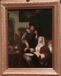 Frans van Mieris l'Ancien, La Visite du docteur, 1657, huile sur cuivre, Kelvingrove Art Gallery and Museum.