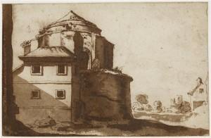 Attribué à Philippe de La Hyre, Maison adossée à l'abside d'une église, 13,1 x 20,2 cm, Paris, Ecole Nationale Supérieure des Beaux-Arts