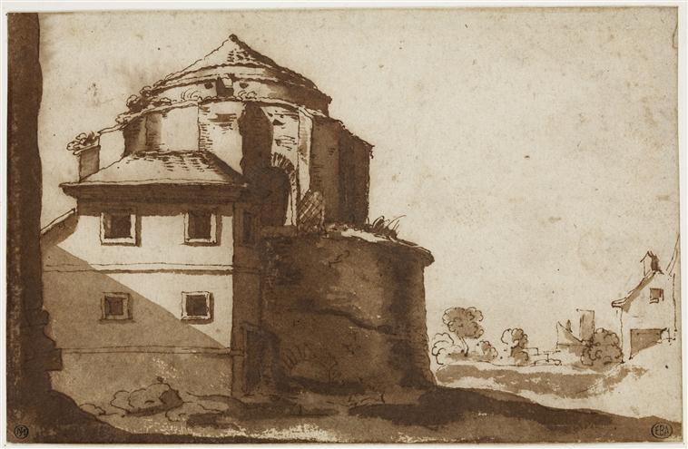 Attribué à Philippe de La Hire, Maison adossée à l'abside d'une église, 13,1 x 20,2 cm, Paris, Ecole Nationale Supérieure des Beaux-Arts