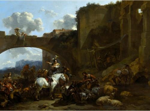 Nicolaes Berchem, Le Rassemblement près d'un pont, vers 1660-1665, huile sur toile, 733 x 987 mm, Kelvingrove Art Gallery and Museum.