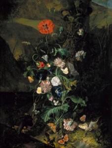 Rachel Ruysch, Fleurs près d'un tronc d'arbre, vers 1683, huile sur toile, 937 x 711 mm, Kelvingrove Art Gallery and Museum.