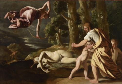 Nicolas Poussin, La Mort de Chioné, vers 1622, huile sur toile, 109,5 x 159,5 cm, Lyon, Musée des Beaux-Arts.