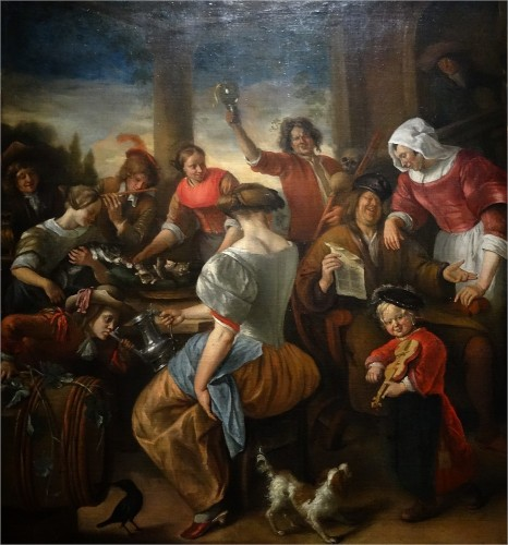 Jan Steen, Une joyeuse compagnie, dit La Famille des chats, vers 1673 – 1675, huile sur toile, 150 x 148 cm, Budapest, musée des Beaux-Arts.