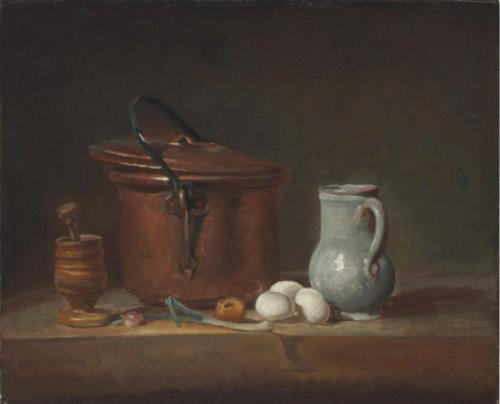 Jean Siméon Chardin, Nature morte à la marmite de cuivre et au mortier, huile sur toile, 38,1 x 46,7 cm.