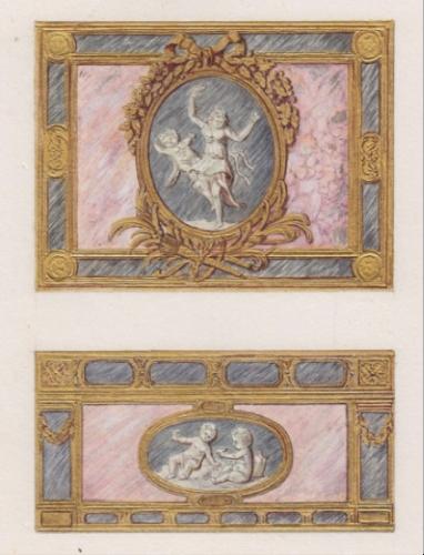Dessins préparatoires pour une boîte de         style Louis XVI, Paris, vers 1900.
