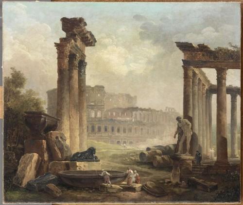 Hubert Robert, Ruines romaines avec le Colisée, 1798, 0,50 x 0,59 m, Paris, musée du Louvre