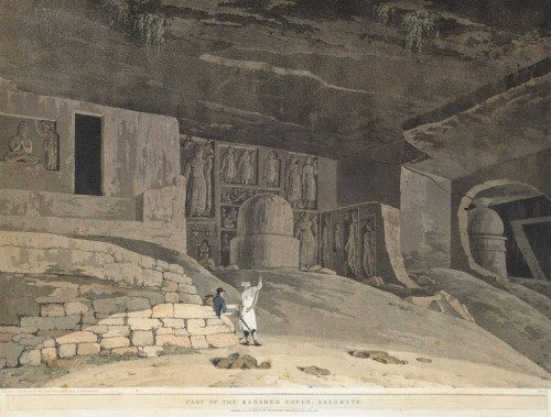 "Thomas Daniell, ""Part of the Kanaree [Kanheri] Caves, Salsette"", 1799, aquatinte from Oriental Scenery."