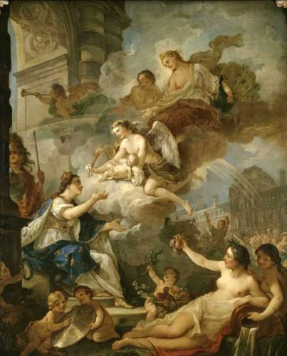 Charles-Joseph Natoire, Allégorie à la naissance de Marie-Zéphirine de France, 1750, huile sur toile, 223 × 150 cm, Versailles, Musée national des châteaux de Versailles et de Trianon.