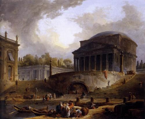 Hubert Robert, Le port de Ripetta à Rome, 1766, huile sur toile, 119 x 145 cm, Paris, Ecole nationale supérieure des Beaux-Arts.