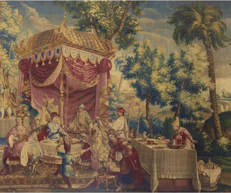 La collation, 1690 - 1732, tapisserie de la manufacture de Beauvais en laine et soie, 324 x 384 cm.