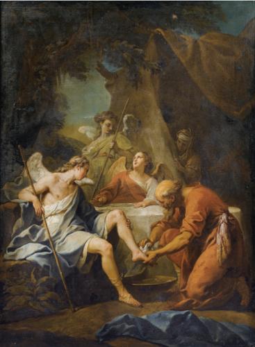 Jean Restout, Abraham et les trois anges, huile sur toile, 130 x 97 cm