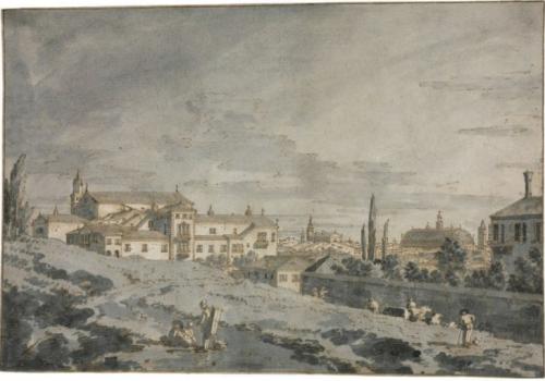 Giovanni Antonio Canal, dit Canaletto, 1740 – 1741, Vue de Padoue, dessin, 18.5 x 27.7 cm.