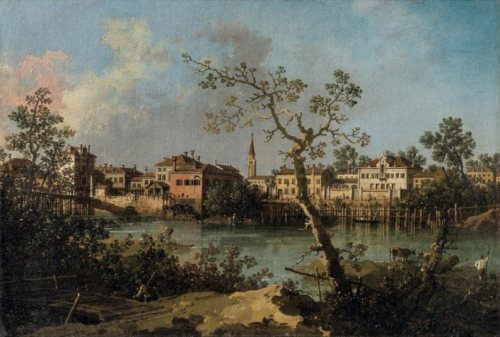 Giovanni Antoio Canal dit Canaletto, Vue d'une rivière, vers 1754, huile sur toile, 30,5 x 45 cm.