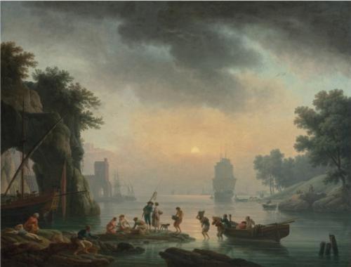 Claude Joseph Vernet, Port de Méditerranée, vers 1770, huile sur toile, 115,5 x 150,8 cm.