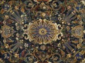 Manufacture des Gobelins, Plateau en mosaïque de marbres et pierres dures, dernier quart du XVIIe siècle, Paris, musée du Louvre