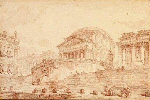 fig. 6. Hubert Robert, Le port de Ripetta à Rome, 1760, sanguine, 31 x 47 cm, Rouen, musée des Beaux-Arts.