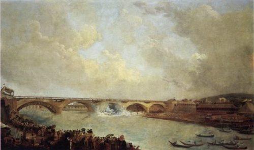 fig. 8. Hubert Robert, Le Décintrement du Pont de Neuilly, 1772, huile sur toile, 66 x 133 cm, Sceaux, musée d'Ile-de-France.