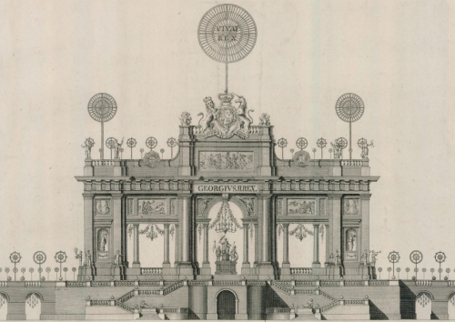 Servandoni, décoration pour le feu d'artifice tiré à Londres en 1749, dessin, Paris, Collection particulière.