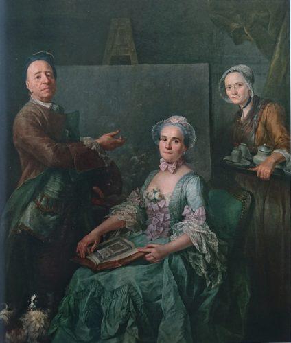 Honoré Revelly, Portrait du peintre Verdussen, de sa femme et de sa servante, 1761, peinture à l'huile sur toile, 169x145 cm, Toulon: Musée d'art