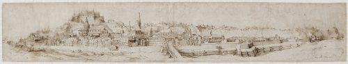 Illustration 1: Philipp Harpff (attrib.), Salzbourg, vue du Nord, dessin à la plume lavé de bistre (composé de deux parties), 162 x 907 mm, Salzburg Museum, (c) Salzburg Museum / Rupert Poschacher