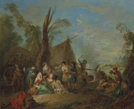 Jean-Baptiste Pater, Soldats et vivandières se reposant autour d'un feu, huile sur toile, 46,3 x 55,8 cm.