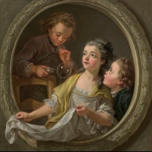 Charles Amédée Philippe Van Loo, Les bulles de savons, 1764, huile sur toile, 88,6 x 88,5 cm