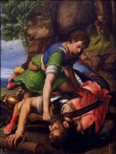 Michiel Coxcie, David et Goliath, huile sur panneau, 139 x 106 cm, Real Monasterio de San Lorenzo de El Escorial