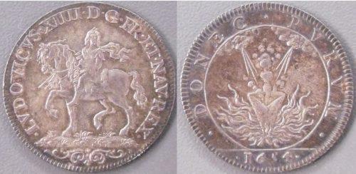 Jeton de Louis XIV, 1654, argent, h : 2,7 cm, BnF, Monnaies, médailles et antiques