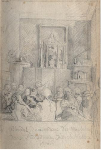 Gabriel de Saint-Aubin, Blondel démontrant des machines dans l'académie d'architecture, 1770, Recueil de poésies de Sedaine, 1770, Chantilly, musée Condé.
