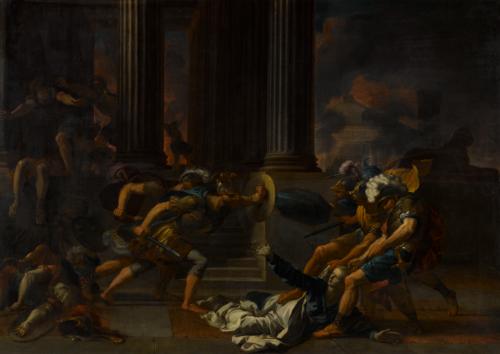Antoine Rivalz, Cassandre traînée hors du temple de Minerve, ca. 1700, toile, 97 × 137 cm, Rouen, musée des Beaux-Arts.
