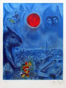 Chagall Lithograph Signed, Le soleil de Paris (Paris Sun), 1977