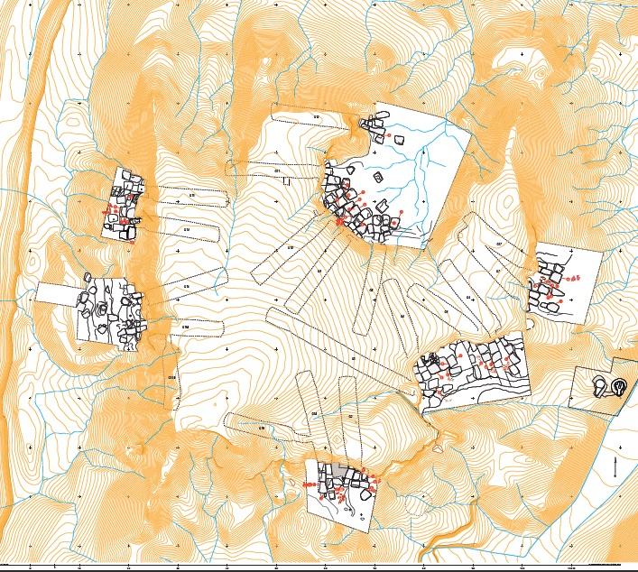 Fig. 1 : plan topographique de la zone des galeries G1-G17 après fouille (Damien Laisney)
