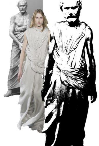 Démosthène, copie d'après Polyeuctos, Silhouette masculine Rick Owens, P/E 2017, Collage silhouette Rick Owens, et visage de Démosthène. Crédits : Vogue.com, Musée du Vatican et collage personnel