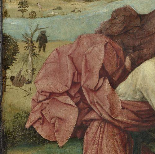 Jérôme Bosch, Saint-Christophe, Détail du drapé du Saint et de l'Enfant Jésus. Huile sur panneau Musée Boijmans Van Beuningen, Rotterdam