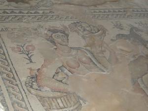 Detail aus dem Mosaik im Haus des Nilfestes in Sepphoris (Foto: Thomas Hieke)