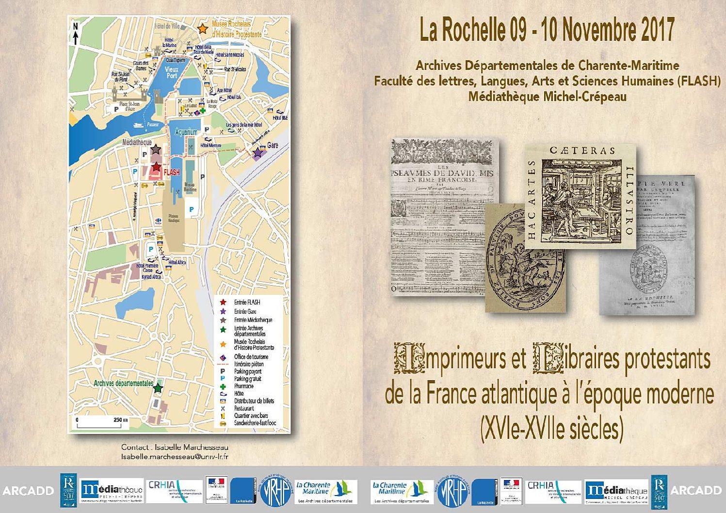 9 et 10 novembre 2017, La Rochelle – Imprimeurs et libraires protestants de la France atlantique
