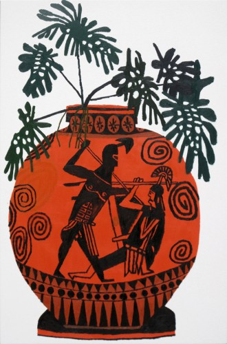 Jonas Wood, Greek Pot with Green Leaves, 2011, oil on canvas, David Kordansky gallery
