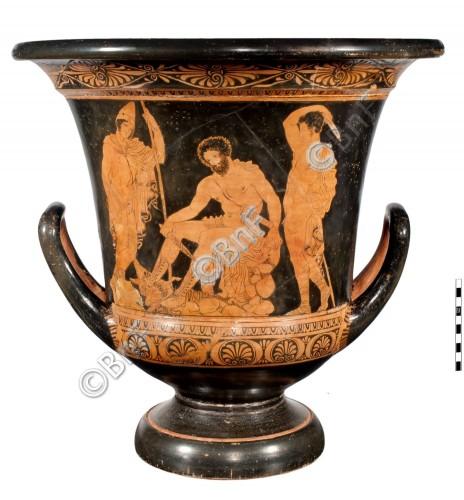 Ulysse sacrifiant un bélier pour invoquer l'âme de Tirésias. Cratère lucanien à figures rouges, IVe siècle av. J.-C., Cabinet des médailles de la BnF.