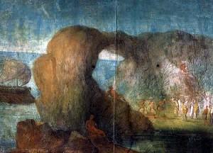 Ulixis errationes per topia, Fresques de l'Esquilin, Ulysse chez les Morts et Lestrygons, scène 2, Rome, Musée du Vatican (bibliothèque apostolique), 50/40 av. J.-C.