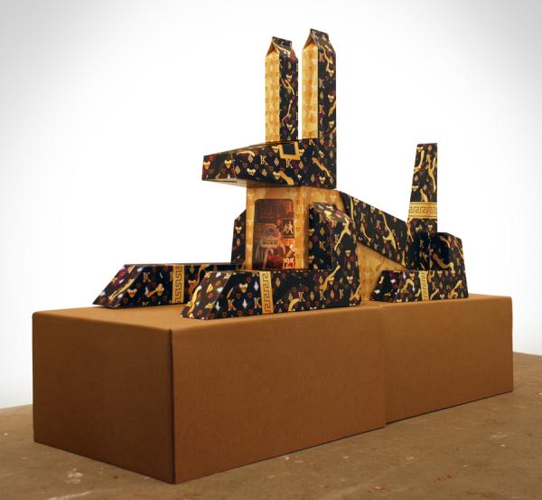 Anubis. Corrugated cardboard, LED light, acrylic, PVC (2012).