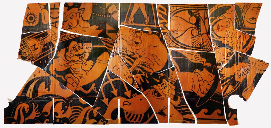 Medusa. Ink on corrugated cardboard, wood (2008-2009).