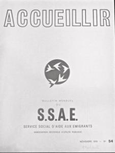 """ère page de la revue """"Accueillir"""", publication du SSAE, Service d'aide aux émigrants, n°54, novembre 1978. Source : Archives nationales"""