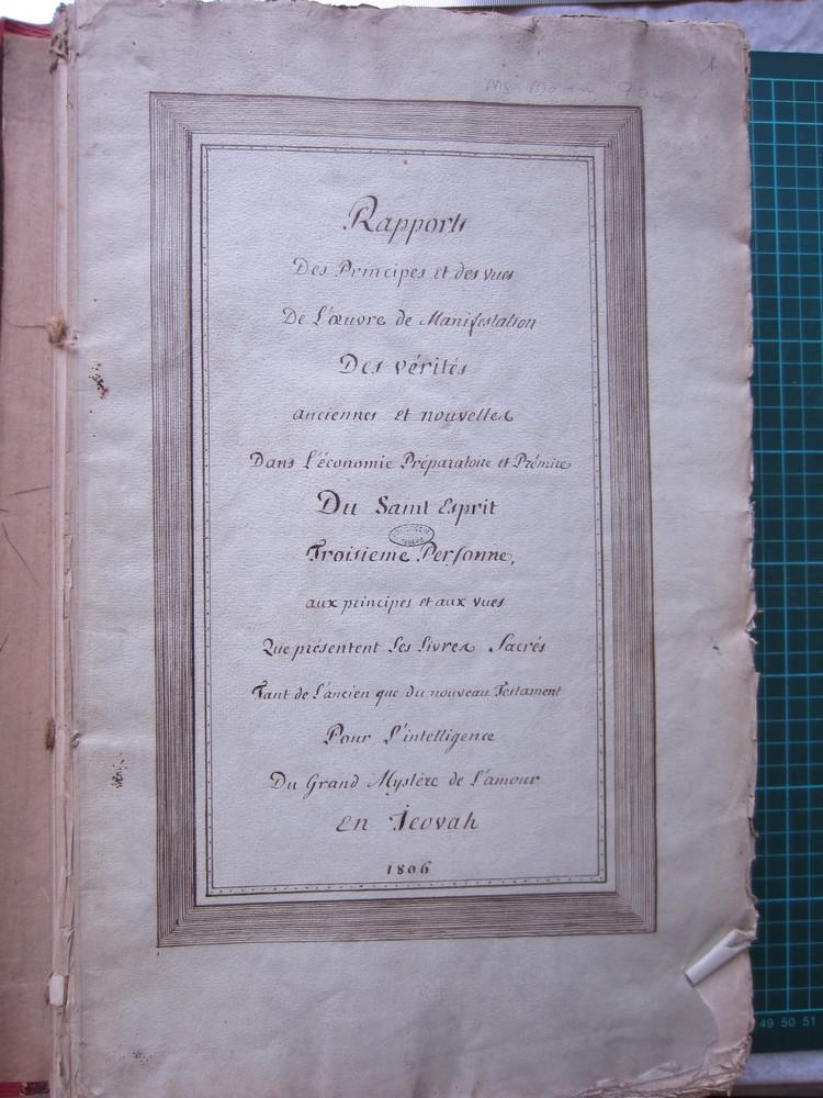 Ms Masson 704-01 : page de titre du manuscrit Ms Masson 704